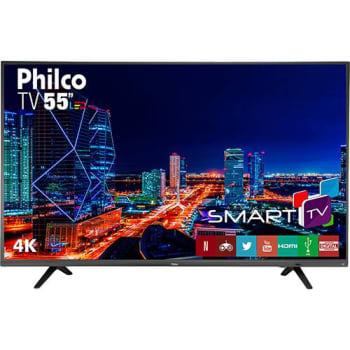 "Smart TV LED 55"" Philco PTV55U21DSWNT UHD 4K com Conversor Digital 3 HDMI 2 USB Wi-Fi Netflix - Titânio"