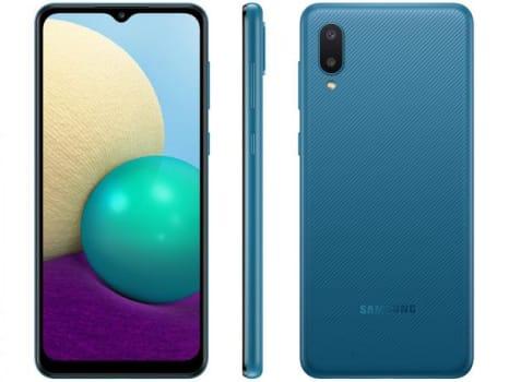 "Smartphone Samsung Galaxy A02 32GB Azul 4G - Quad-Core 2GB RAM 6,5"" Câm. Dupla + Selfie 5MP - Magazine Ofertaesperta"