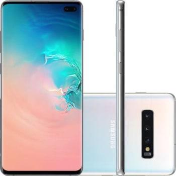 "Smartphone Samsung Galaxy S10+ 128GB Dual Chip Android 9.0 Tela 6.4"" Octa-Core 4G Câmera Tripla Traseira 12MP + 12MP + 16MP - Branco"