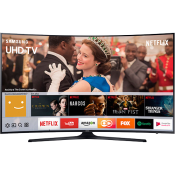 "Smart TV LED Curva 55"" Samsung 55MU6300 UHD 4k com Conversor Digital 3 HDMI 2 USB Wi-Fi Espelhamento de Tela - Preta"