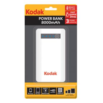 Carregador Portátil Kodak 8000Mah Power Bank Branco