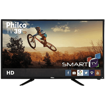 "Smart TV LED 39"" Philco PH39N86DSGW HD com Conversor Digital 3 HDMI 1 USB Wi-Fi Closed Caption e Sleep timer"