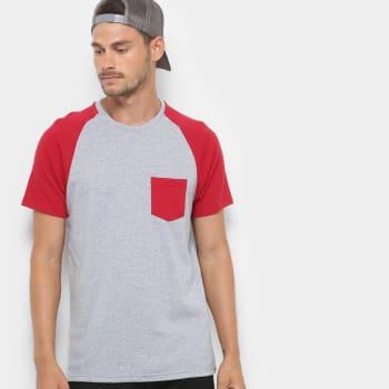 Camiseta Mood Bolso Masculina - Mescla e Vinho