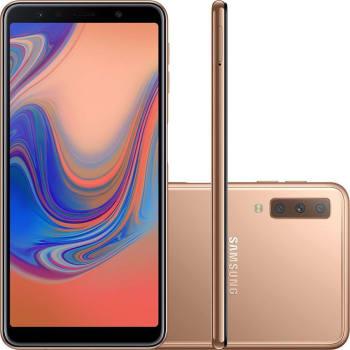 "Smartphone Samsung Galaxy A7 128Gb Cobre 4G Tela 6.0"" Câmera 24MP Selfie 24MP Dual Chip Android 8.0"