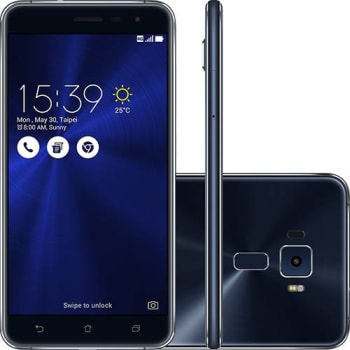 "Smartphone Asus Zenfone 3 Dual Chip Android 6 Tela 5.5"" 64GB 4G Câmera 16MP - Preto Safira"