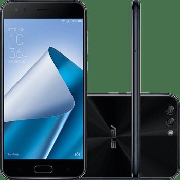 """Smartphone Asus Zenfone 4 4GB Memória Ram Dual Chip Android Tela 5.5"""" Snapdragon 64GB 4G Câmera dual Traseira 12MP + 8MP Câmera Frontal 8MP - Preto"""