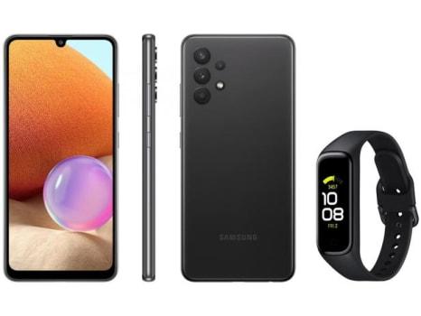 Smartphone Samsung Galaxy A32 128GB Preto 4G - 4GB RAM + Smartband Galaxy Fit2 Preto - Magazine Ofertaesperta