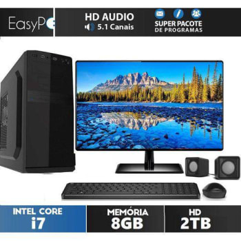 Computador Desktop Intel Core I7 8gb Hd 2tb Monitor 21.5 FullHD HDMI EasyPC