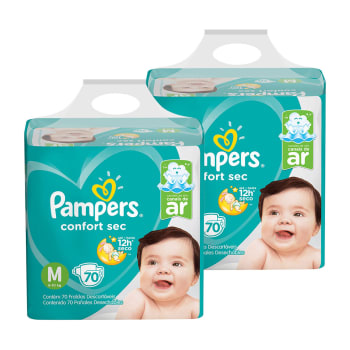 Kit de Fraldas Pampers M Confort Sec Super - 140 Unidades