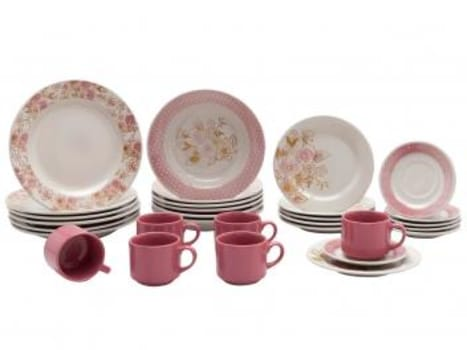 Aparelho de Jantar Chá 30 Peças Biona - Cerâmica Redondo Rosa Donna AE30-5160 - Magazine Ofertaesperta