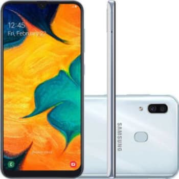 "Smartphone Samsung Galaxy A30 64GB Dual Chip Android 9.0 Tela 6.4"" Octa-Core 4G Câmera 16MP + 5MP - Branco"