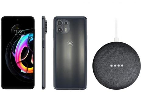 Smartphone Motorola Edge 20 Lite 128GB Grafite - 5G 6GB RAM + Nest Mini 2ª geração Smart Speaker - Magazine Ofertaesperta