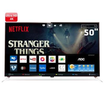 "Smart TV LED 50"" UHD 4K AOC LE50U7970 com Wi-Fi, Miracast, App Gallery, Botão Netflix, Digital Noise Reduction, HDMI e USB"