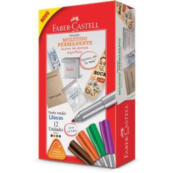 Marcador Permanente, Faber-Castell, MULTI2/MIXZF, 1.0mm, 12 Unidades, Laranja/Verde-Escuro/Marrom/Roxo