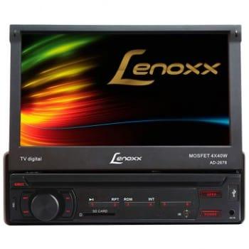 """DVD/CD Player Automotivo Lenoxx Tela 7"""" Retrátil com TV Digital, Touchscreen, CD, MP3, SD Card, Rádio FM, Entrada USB, SD e Auxiliar - AD2678"""