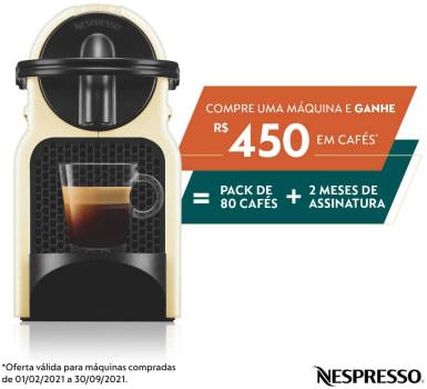 Inissia Nespresso Cafeteira 110V, Cream + 80 Cápsulas
