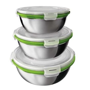 Conjunto de Potes Euro Home Herméticos em Inox com Tampa Plástica Verde - 3 Peças