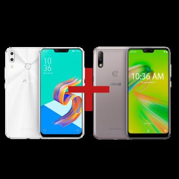 ZenFone 5 4GB/64GB Branco + Zenfone Max Plus (M2) 3GB/32GBPrata