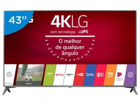 "Smart TV LED 43"" LG 4K/Ultra HD 43UJ6565 webOS - Conversor Digital 2 USB 4 HDMI - Magazine Ofertaesperta"