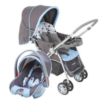 Carrinho com Bebê Conforto Travel System Reverse até 15kg Azul Cosco