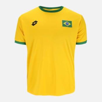Camisa Lotto Brasil Masculina - Amarelo e Verde