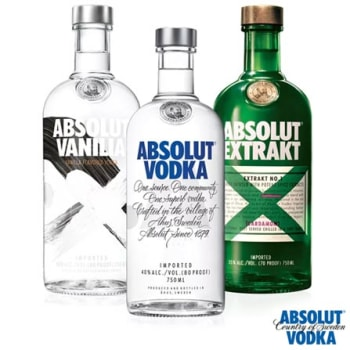Kit Vodka Absolut Original + Vodka Absolut Extrakt + Vodka Absolut Vanilla 750ml