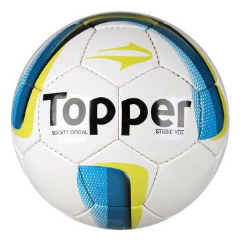 13d264b0de Bola Futebol Society Topper Strike VIII - Branco e Azul em Promoção ...