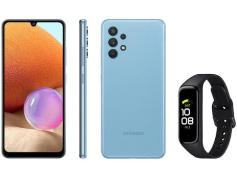 Smartphone Samsung Galaxy A32 128GB Azul 4G - 4GB RAM + Smartband Galaxy Fit2 Preto - Magazine Ofertaesperta