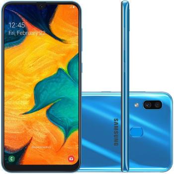 "Smartphone Samsung Galaxy A30 64GB 6.4"" 4GB RAM Câmera Traseira Dupla 16MP 5MP Azul"