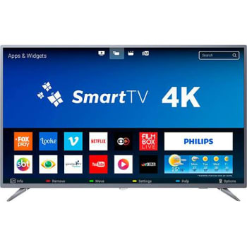 "Smart TV LED 55"" Philips 55PUG6513/78 Ultra HD 4k com Conversor Digital 3 HDMI 2 USB Wi-Fi 60hz - Prata"