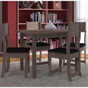 Conjunto Sala De Jantar Mesa E 4 Cadeiras Dallas Indekes Nogal/preto