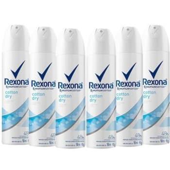 Kit com 6 Desodorantes Antitranspirantes Aerossol Feminino Rexona Cotton Dry com 150ml Cada
