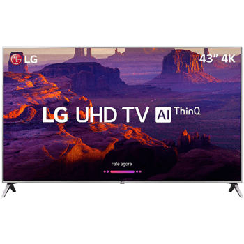 "Smart TV LED 43"" LG 43UK6510 Ultra HD 4k com Conversor Digital 4 HDMI 2 USB Wi-Fi Thinq Ai Dts Virtual X 60Hz Inteligencia Artificial - Prata"