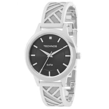 Relógio Feminino Analógico Technos Unique, Pulseira de Aço Prata, Caixa de 3,8 cm, Resistente à Água 5 ATM  - 2036MEW/1P