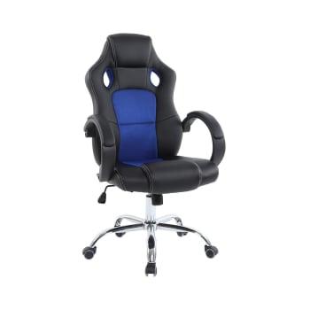 Cadeira para Escritório Travel Max Preta e Azul Gamer UT5041PT