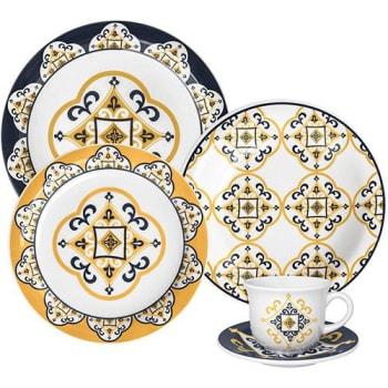 Aparelho de Jantar e Chá 20 Peças Cerâmica Floreal São Luis Amarelo - Oxford Daily