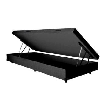 Base para Cama Box Solteiro Basic com Baú (36x88x188) Preta