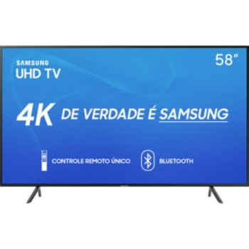 """Smart TV LED 58"""" Samsung 58RU7100 Ultra HD 4K com Conversor Digital 3 HDMI 2 USB Wi-Fi Visual Livre de Cabos Controle Remoto Único e Bluetooth"""