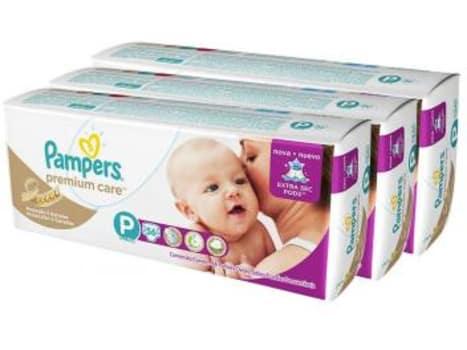 Kit Fraldas Pampers Premium Care Mega Tam P - 3 Pacotes com 56 Unidades Cada - Magazine Ofertaesperta