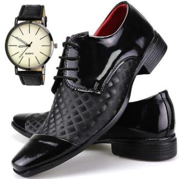 Sapato Social Neway Masculino Artesanal Preto + Relógio
