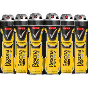Kit com 6 Desodorantes Antitranspirantes Aerossol Rexona Masculino V8 Amarelo 150ml Cada