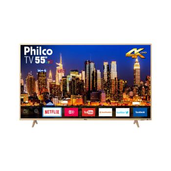 """Smart TV LED 55"""" Philco PTV55F61SNC UHD 4K 3 HDMI 2 USB Champanhe com Conversor Digital Integrado"""