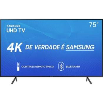 """Smart TV LED 75"""" Samsung 75RU7100 Ultra HD 4K com Conversor Digital 3 HDMI 2 USB Wi-Fi Visual Livre de Cabos Controle Remoto Único e Bluetooth"""