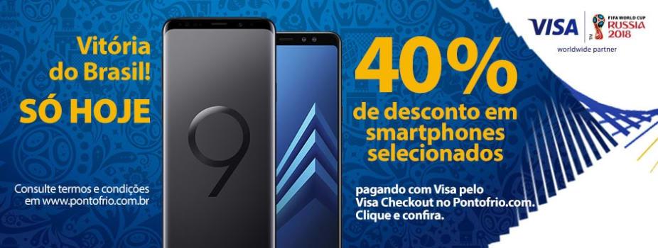 6b48a3ea12 40% OFF no Galaxy S9 Plus e A8 Plus pagando com Visa Checkout em ...