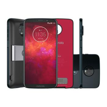 "Smartphone Moto Z3 Play Power Pack & DTV Edition 64GB Indigo Tela 6"" Câmera 12MP Android 8.1"