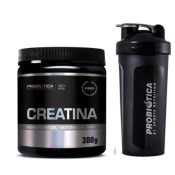 Kit Creatina Pura Professional 300g + Coqueteleira 600ml Probiótica R$ 70,99