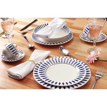 Aparelho de Jantar 42 Peças Cerâmica Gotas Branco/Azul - at.home by Corona