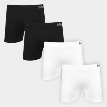Kit Cueca Boxer Mash Microfibra Sem Custura 4 Peças - Preto+Branco