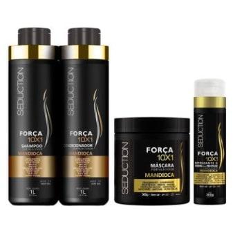 Kit Eico Seduction Mandioca Força 10x1: Shampoo 1L + Condicionador 1L + Máscara 500g + Creme de Pentear com Função Defrizante 300g