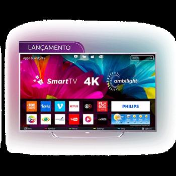 "Smart TV LED Ambilight 65"" Philips 65PUG6412/78 Ultra HD 4k com Conversor Digital 4 HDMI 2 USB Wi-Fi 60Hz - Prata"